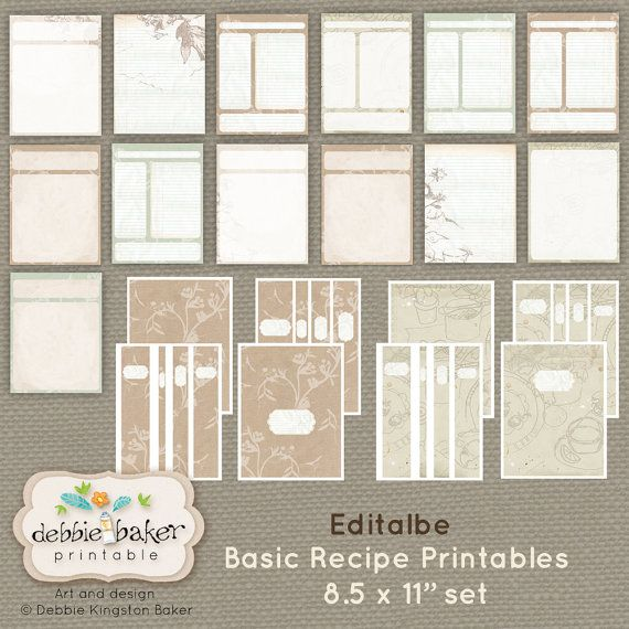 Basic Recipes Set 8.5 X 11 Pages Digital By