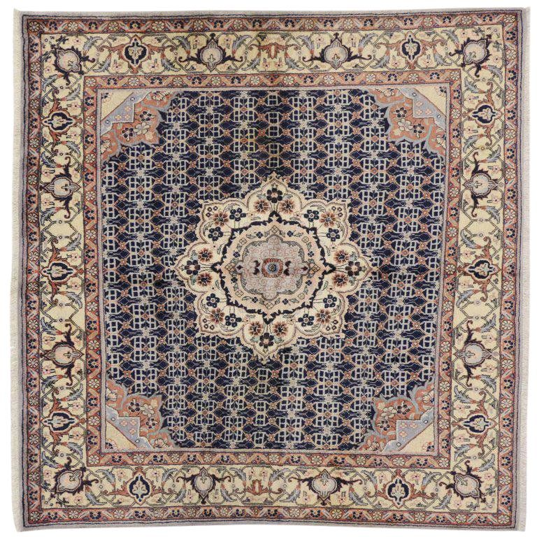 Vintage Persian Bijar Square Rug With Traditional Style Square Rugs Rugs Rugs On Carpet