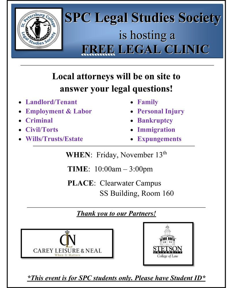 Free legal clinic available to SPCollege students Nov. 13