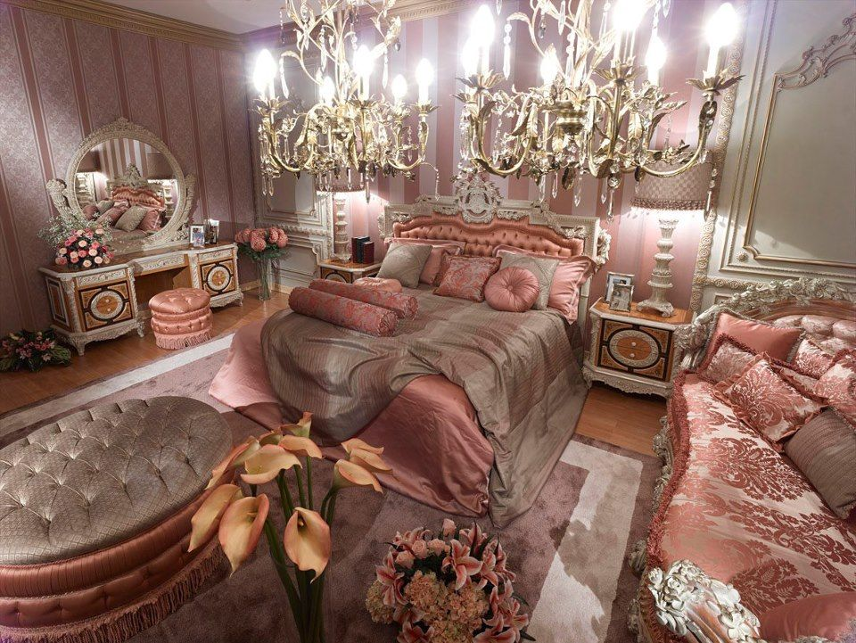 Pink Classic Style Italian Bedroom - Top and Best Italian Classic - Italian Bedroom Sets