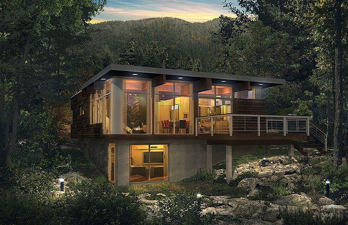 Maison pr fabriqu e contemporaine cologique natura for Mini maison usinee