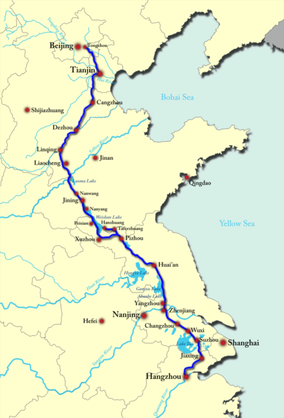 Grand Canal China Map Map of the course of the Grand Canal built during the Sui Dynasty