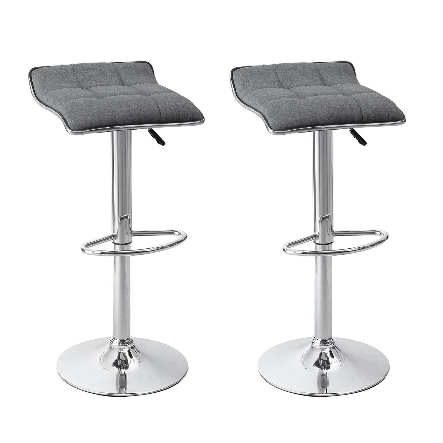 Amazon.com: Asense Backless Linen Fabric Curved Square Shape Adjustable Bar-stools (Set of Two)NEW 2016 ARRIVAL (Grey): Home & Kitchen