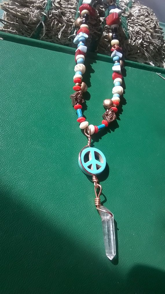 Peace Sign Necklace. Hippie Turquoise gift for by Wiserowlsnest