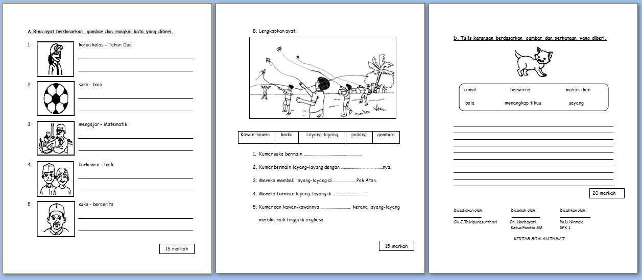 Hasil Carian Imej Untuk Soalan Penulisan Bahasa Melayu Tahun 1 Preschool Worksheets Education Learning