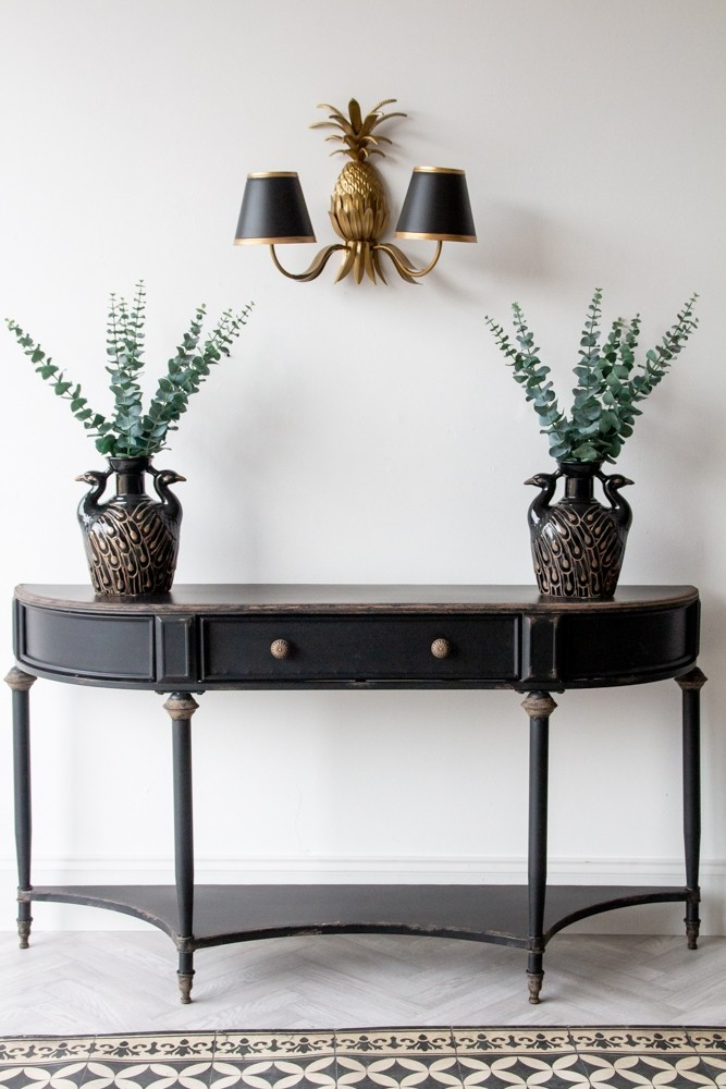 Black Vintage Style Metal Distressed Console Table With Drawer