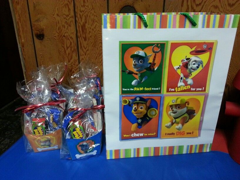 Dollar tree gift bag decorated with Paw Patrol printouts and party ...