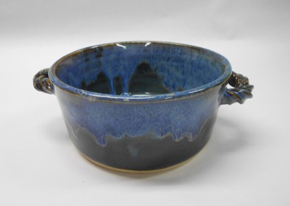 Bowl with handle. Holds 16 Ounces Handmade Pottery French Onion Soup bowl Oven safe