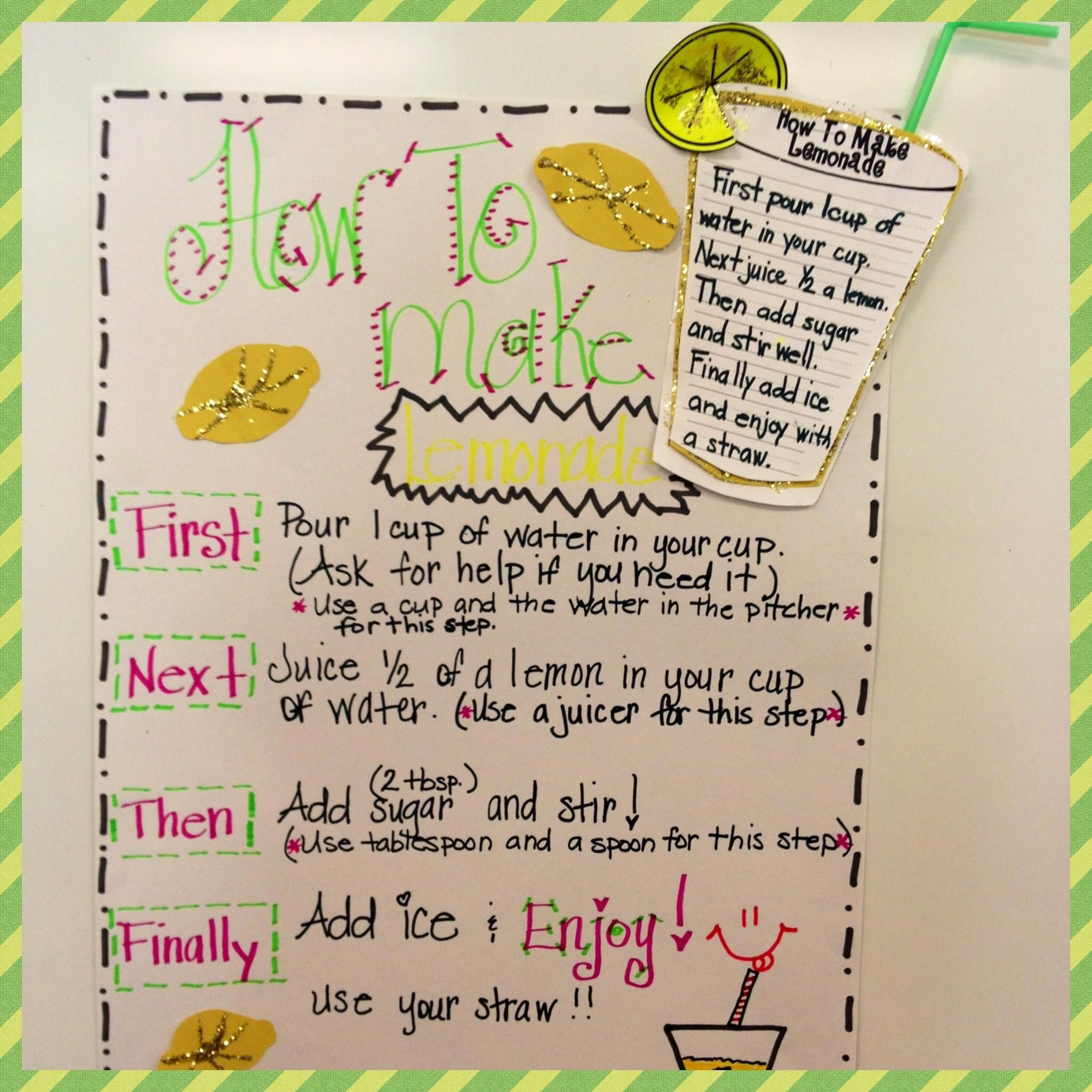 Glitzy In 1st Grade How To Make Lemonade Sequence Writing Procedural Writing