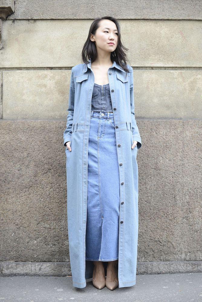 8d71d75c942 How to Wear a Maxi Skirt | Denim | Faldas jeans, Maxi faldas, Faldas