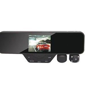 Black Box M1000 Rearview Mirror Dash Cam - Dual Camera Rotating Camera - 1080P Car DVR (16GB SD Included)