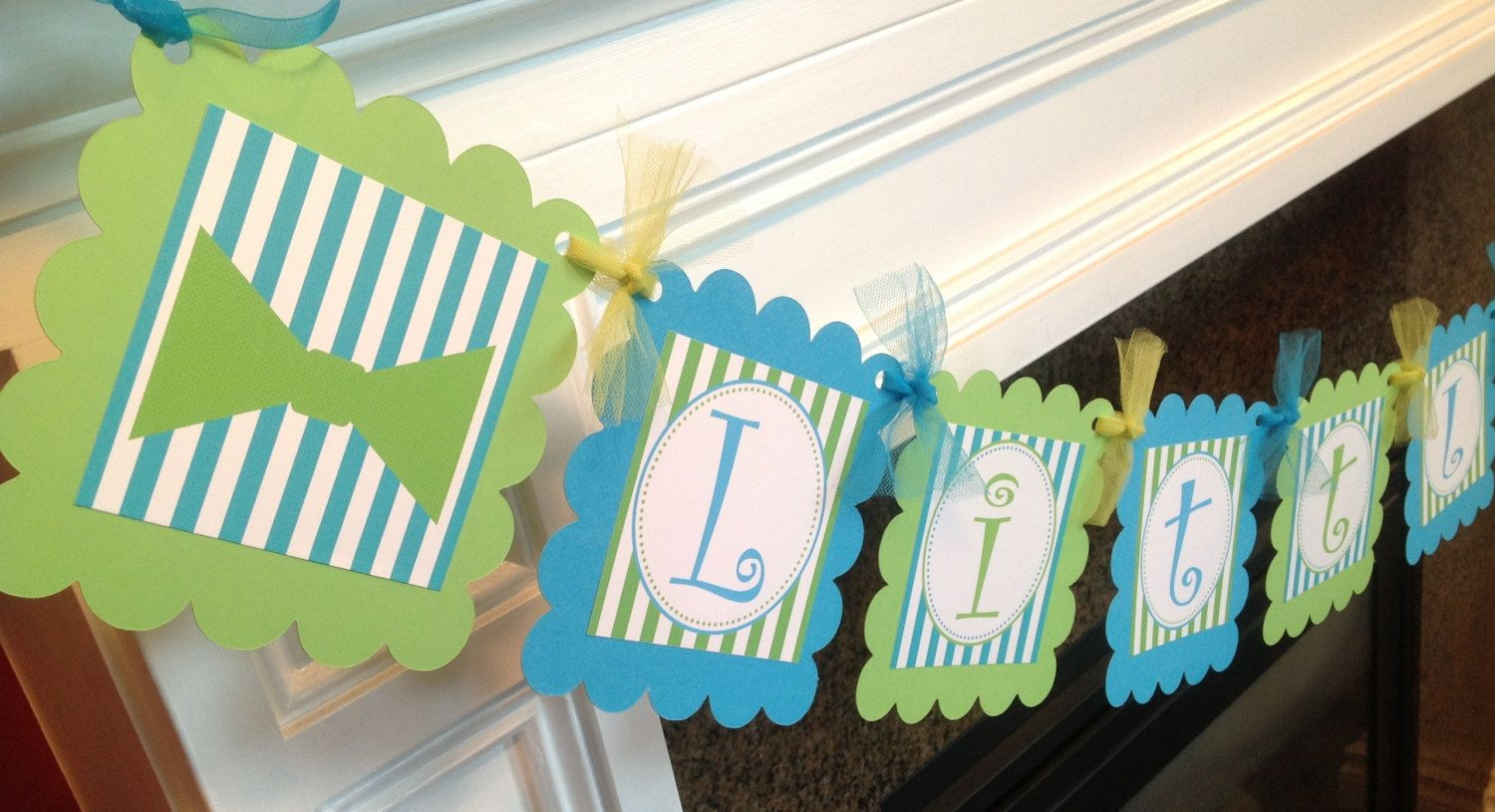 PARTY PACK - Little Man Curly Q Bow tie Baby Shower Collection - Lime Green  & Turquoise