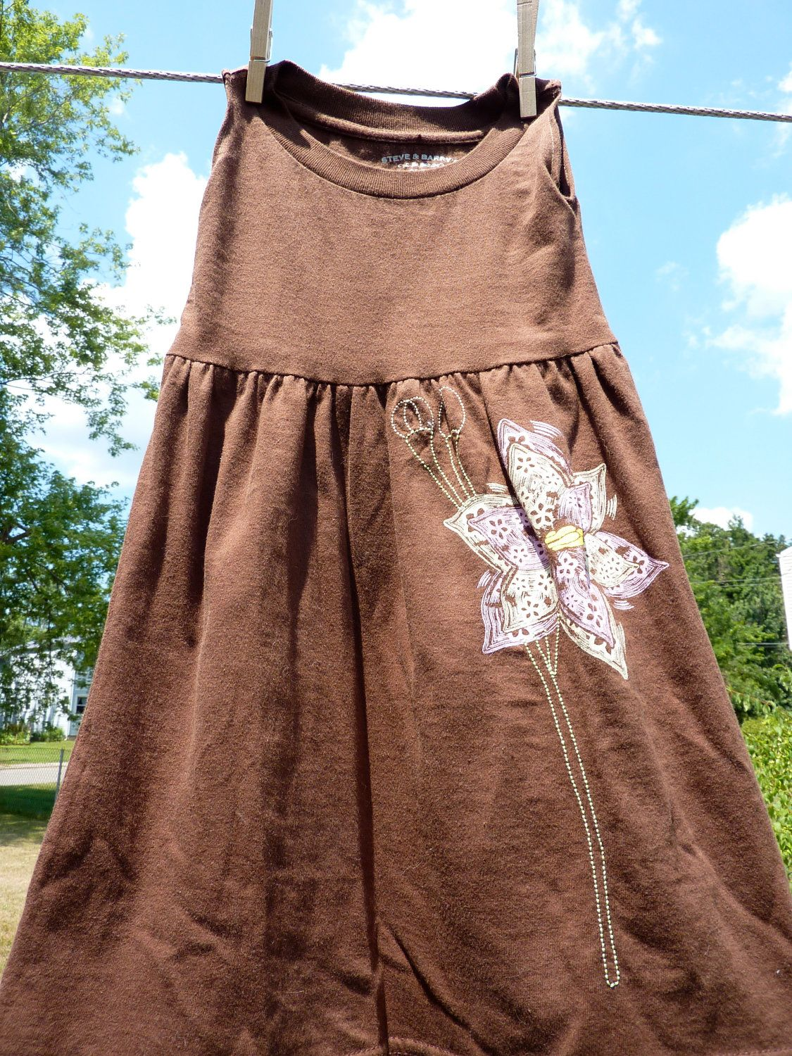"""Upcycled T-Shirt Dress-""""Lily"""" 2T-3T. $20.00, via Etsy."""
