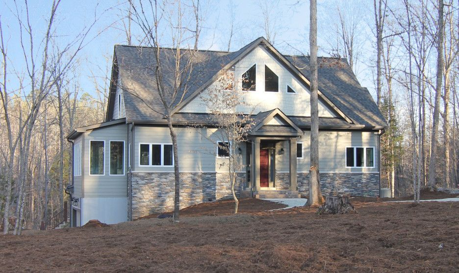 Best Half Stone House Architecture Using Light Grey Exterior 400 x 300
