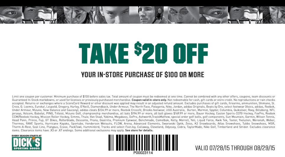 Pinned August 7th: $20 off $100 at #Dicks Sporting Goods #coupon via The #Coupons App