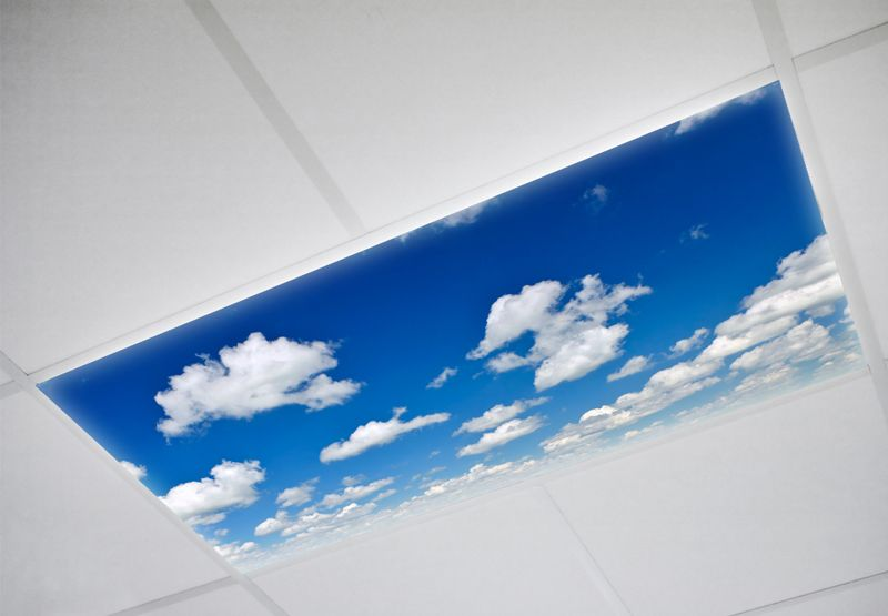 Sky fluorescent light covers. Decorative fluorescent light covers for homes, dental and medical offices, churches, schools, and more.