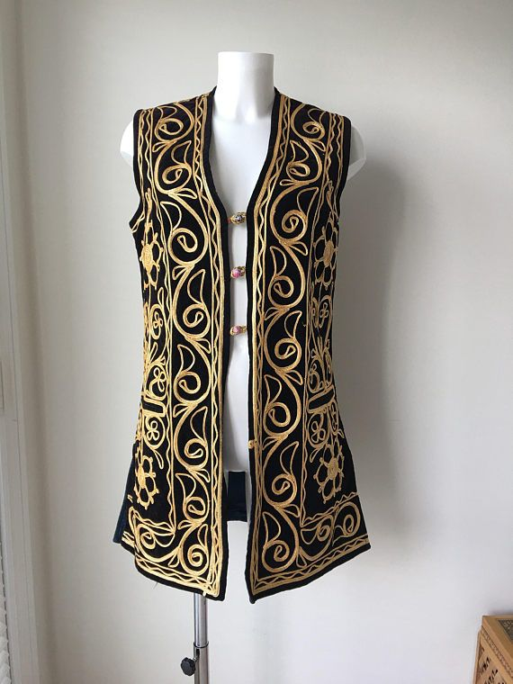 7ffdc32f2e1 Black Velvet Tribal vest Gold embroidered Ethnic Afghan India ...