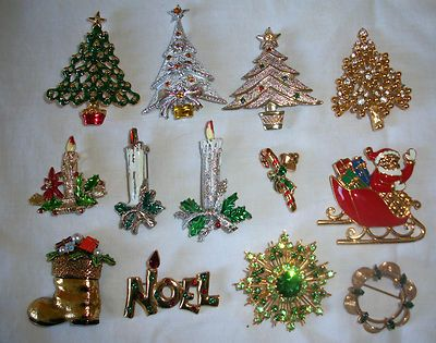 Lot 13 Vintage Christmas Pins Trees Candles Art Santa Boot Eisenberg Ice Noel ++ | eBay