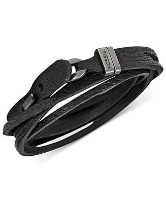 fossil men s double wrap black leather bracelet fashion jewelry fossil men s double wrap black leather bracelet fashion jewelry jewelry watches macy s