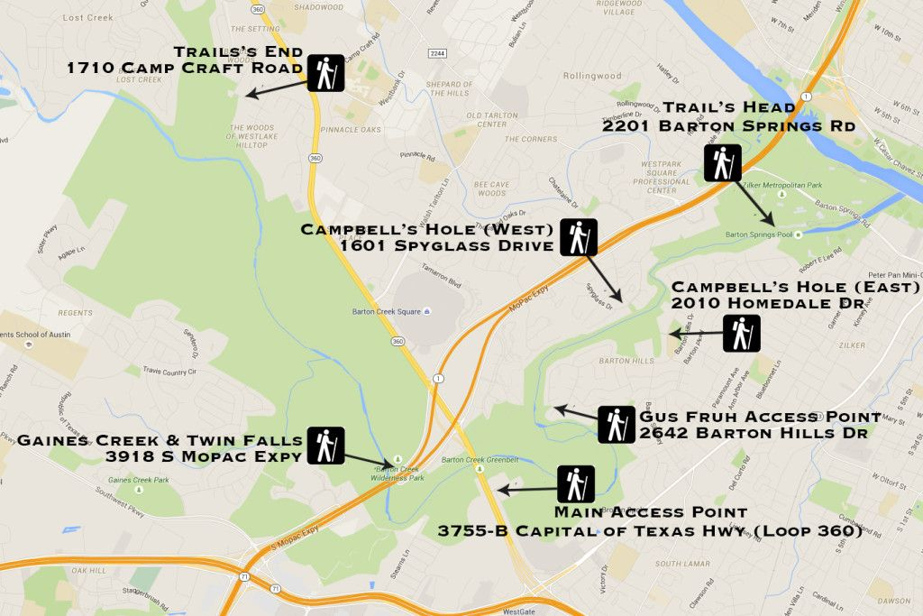 Complete Map Of Texas.The Complete Guide To Austin Greenbelt Access And Trails A T X