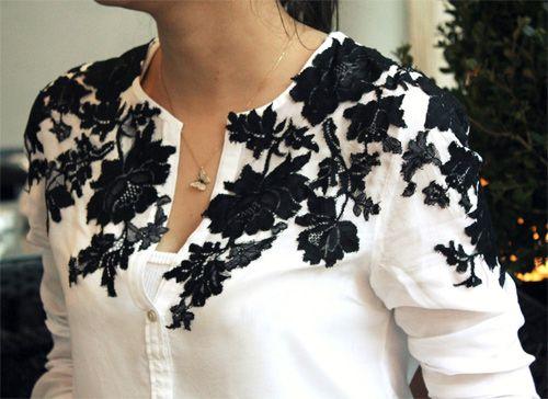 d62ad6eb676fa Camisa com renda   Costuras   Pinterest