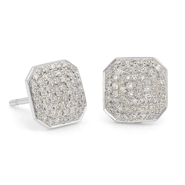5327745b1 14K White Gold 0.41Ct D/VVS1 Diamond Square Shaped Stud Earrings For Mens  Womens #AJjewelworld #ClusterStud | Stud Earrings in 2019 | Stud earrings,  ...