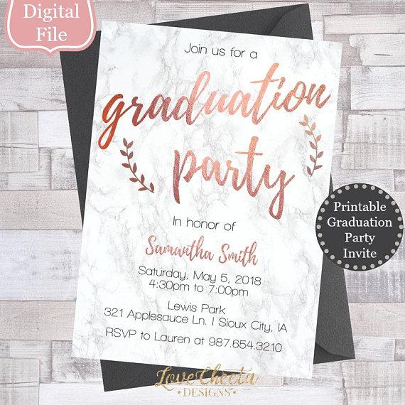 Marble Rose Gold Graduation Invitation