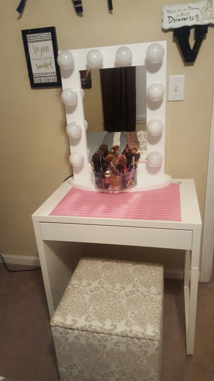 Ikea Micke Desk With Hollywood Vanity Mirror From