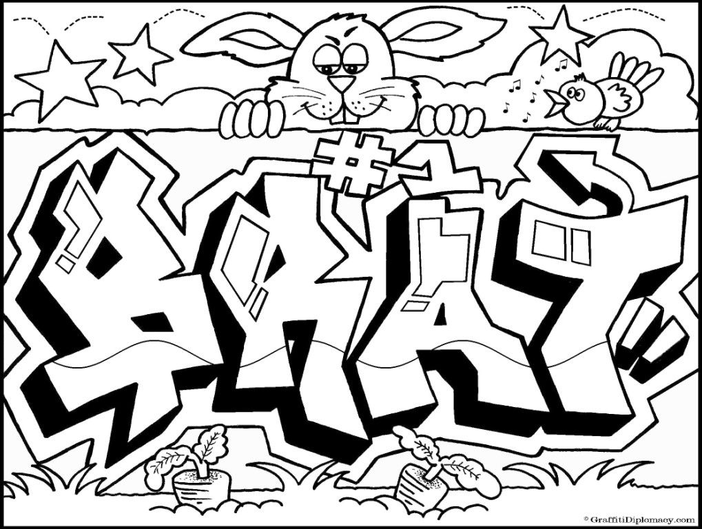 graffiti coloring book because ys a crooked letter by graffiti coloring home pages - Graffiti Coloring Pages Printable