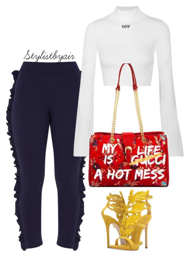 """Untitled #7408"" by stylistbyair ❤ liked on Polyvore featuring Off-White and Giuseppe Zanotti"