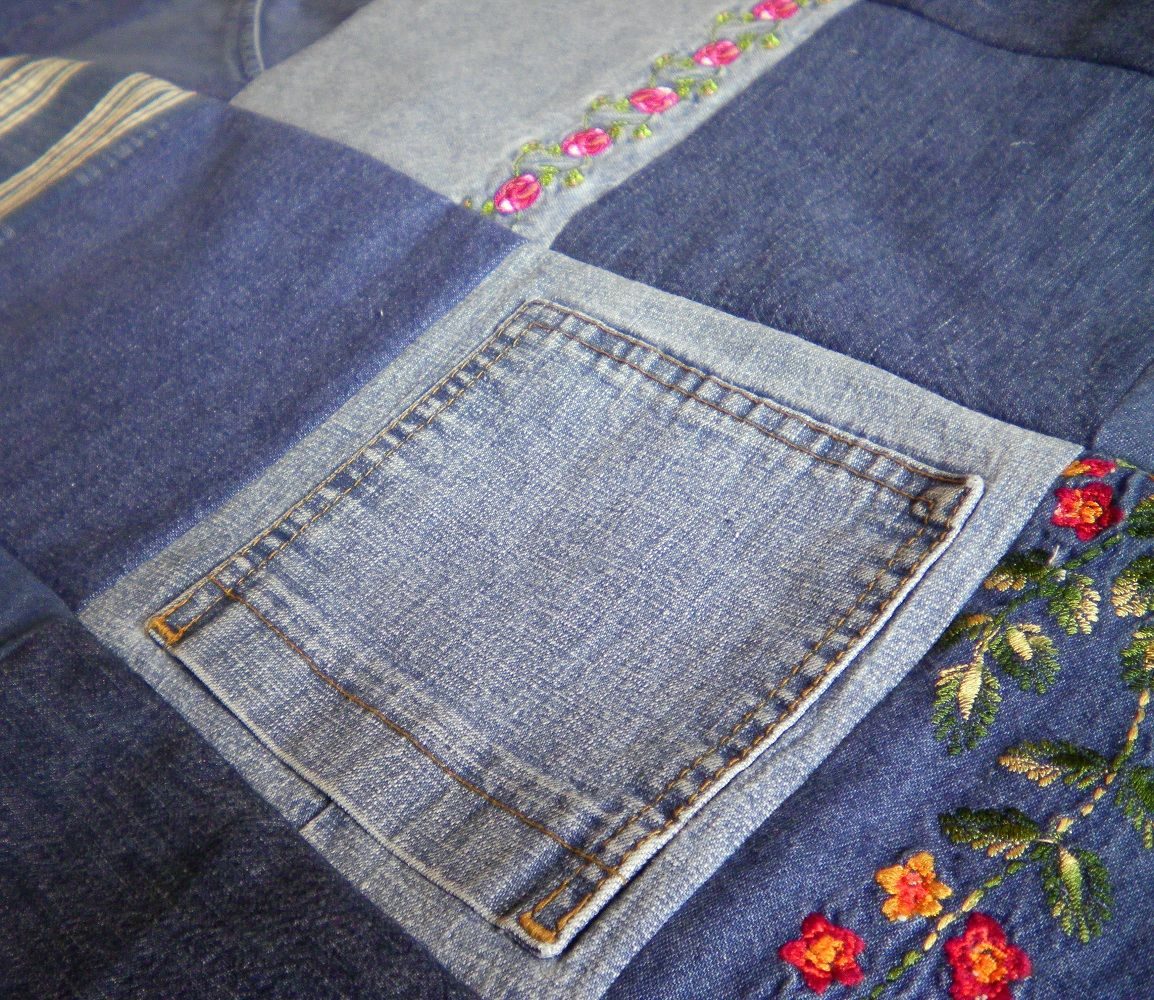 Denim Jeans Quilt Flowers