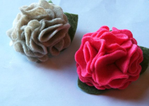 Felt Flower Hair ClipsFlower Hair ClipsHair by wildjuniper on Etsy, $10.00