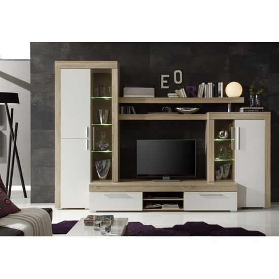 Boom Living Room Set In Oak With White Matt Fronts And LED Lights ...