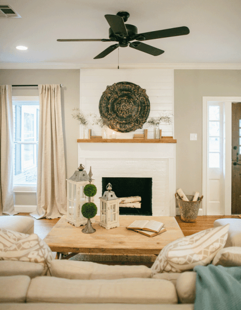 Joanna Gaines' Farmhouse Style, shiplap fireplace, neutral ...