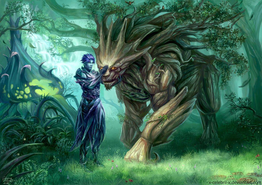 Sylvari And Oakheart Commission By X Celebril X Fantasy Art Fantasy Creature Art
