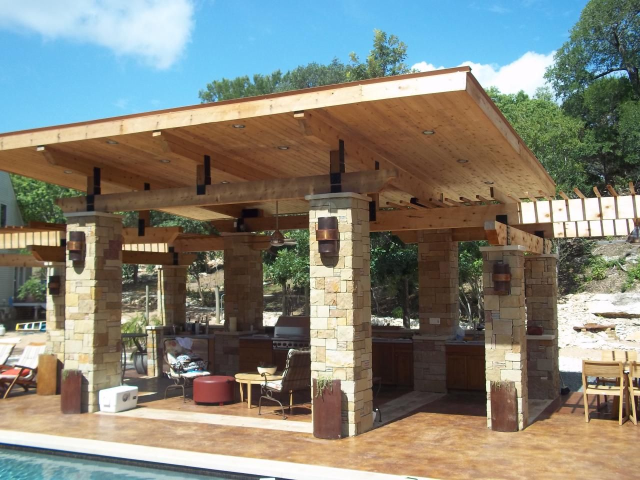 Exterior Terrific Outdoor Patio Design For Lounge Space Backyard Ideas Cozy Wooden Covered Patio   MyHomeImprovement   pergola  . Outdoor Covered Patio Lighting Ideas. Home Design Ideas