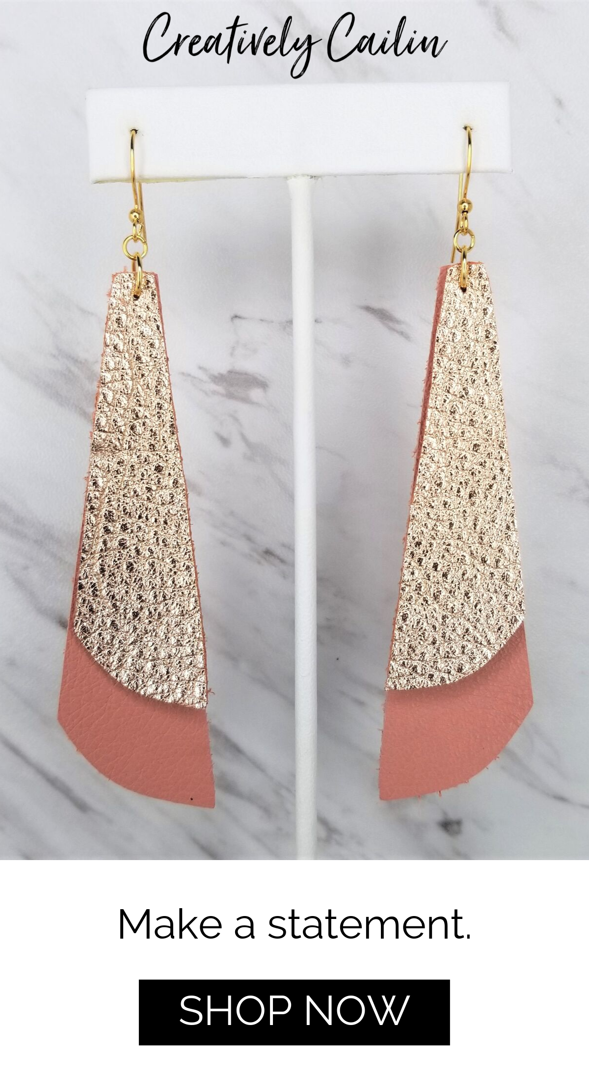 Photo of Leather Earrings | Asymmetric Statement Earrings | Rose Gold Pink Earrings