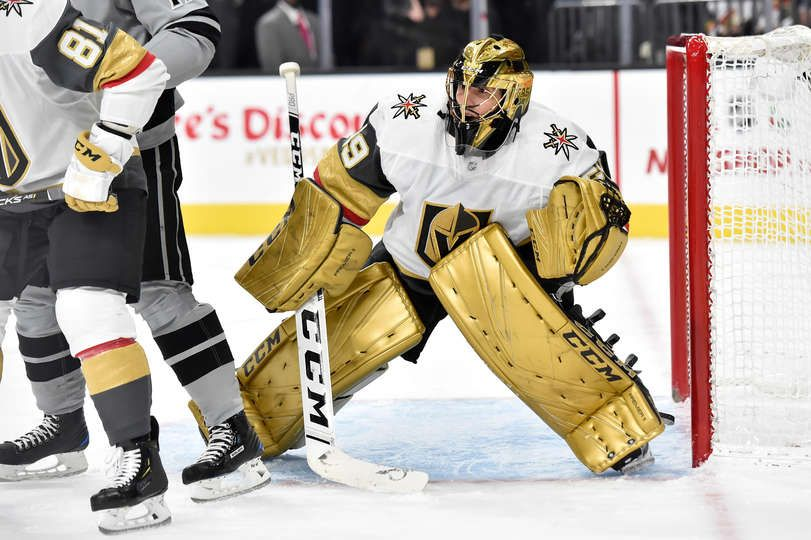 Las Vegas Nv December 23 Marc Andre Fleury 29 Of The Vegas Golden Knights Tends Goal During The Second Per Golden Knights Vegas Golden Knights Goalie Pads