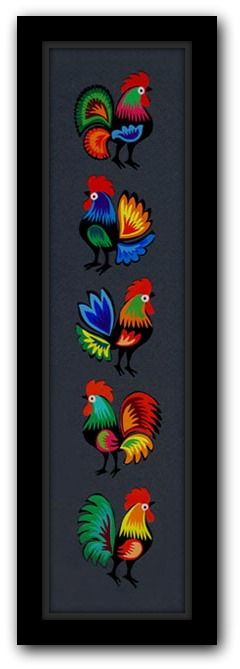 Polish Folk Art, Roosters, Cutout