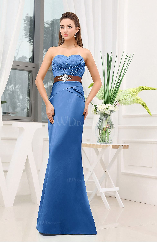 Royal Blue Plain Sheath Sweetheart Zipper Floor Length