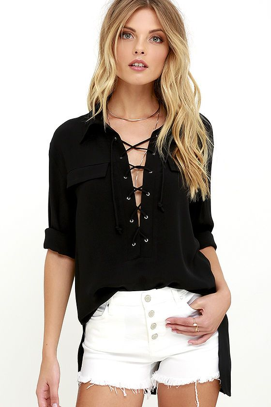 d2da1258bc3 There s no need to explain the style appeal of the You Know It Black Long  Sleeve Lace-Up Top