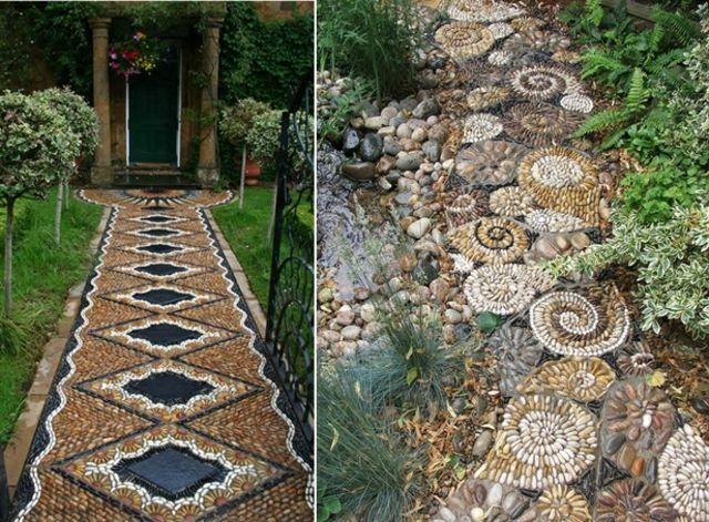 Gartenweg anlegen design ideen mosaik fliesen klassische muster garten pinterest - Garten mosaik ...