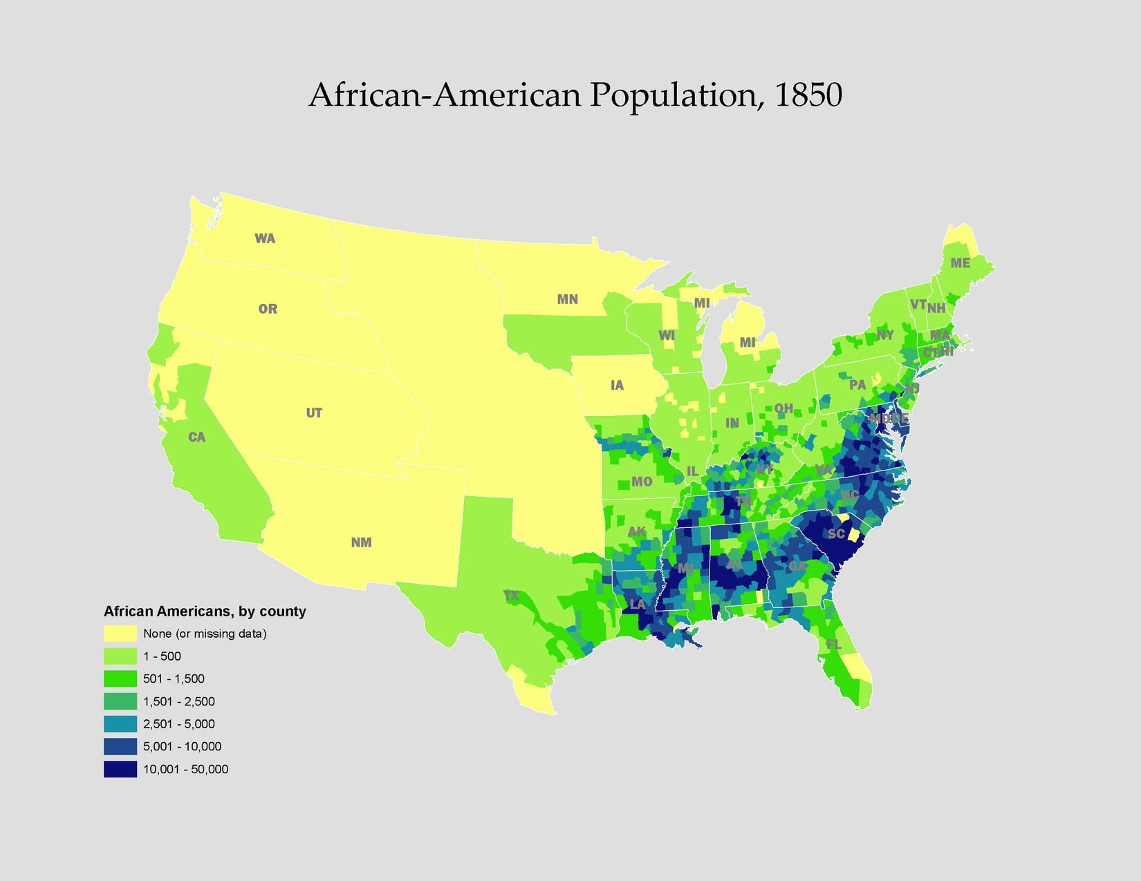 Map Of The United States 1850.1850 African American Population 1820 1860 Antebellum America
