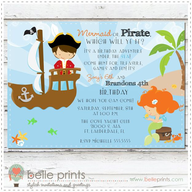 Mermaid And Pirate Birthday Invitation By Belleprints Com For
