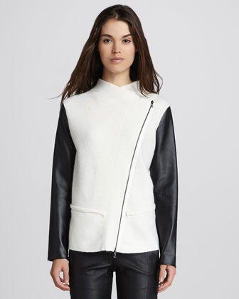 Asymmetric Faux-Leather-Sleeve Jacket at CUSP.