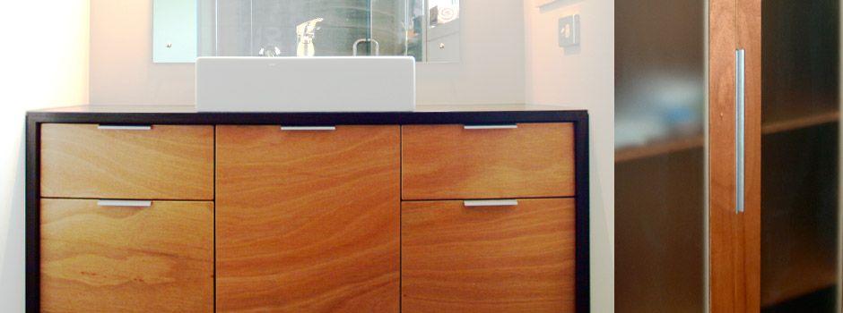 Marine Ply Cabinets Slim Handles Contrasting Frame Bathroom Cupboards Cabinetry Custom Furniture