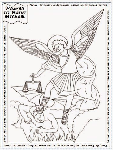 free saint michael catholic coloring page includes the prayer to st michael feast day is september 29