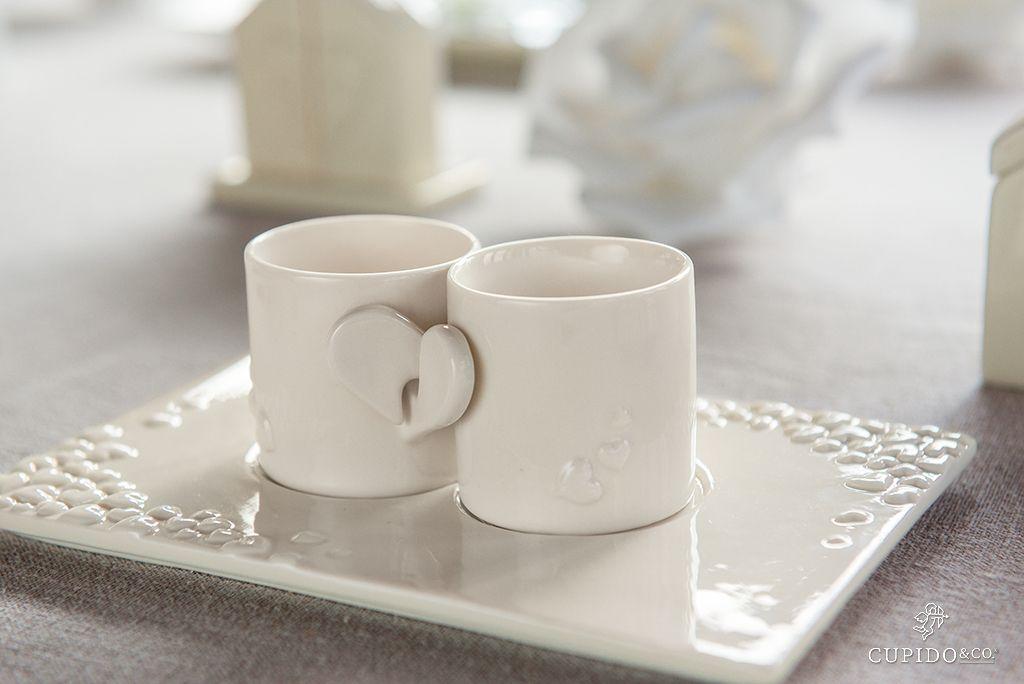 Bomboniere Matrimonio Tazzine.Tazzine In Porcellana Con Cuore Idea Originale Bomboniera Per