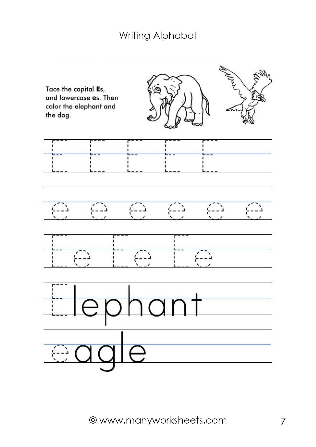 Kindergarten Lowercase Letters Worksheets Letter E