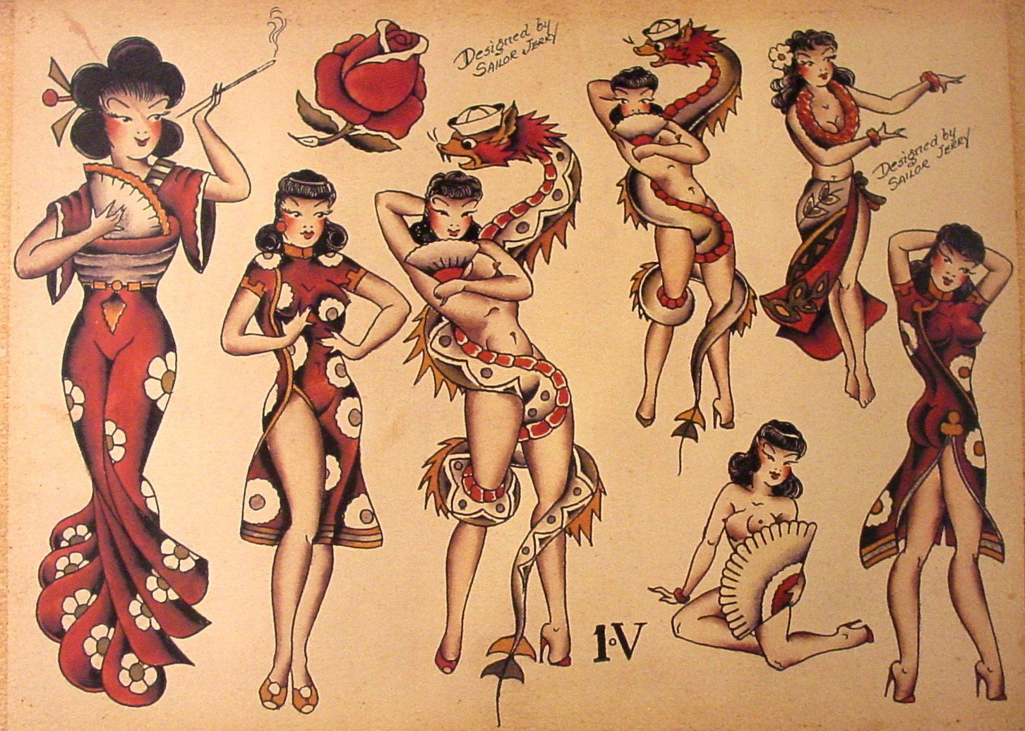 Sailor jerry tattoo flash 10 sheets snakes panthers for Sailor jerry pin up tattoos